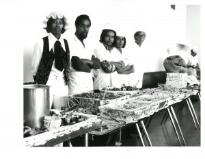 Culinary students with buffet
