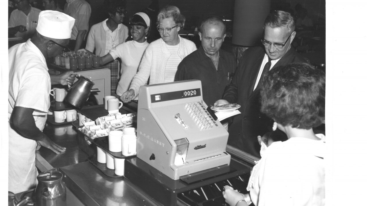 Cafeteria Line with Staff and Cashier 1960s