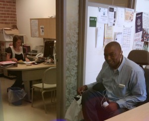 here is a photo of a student and counselor in the dsps office