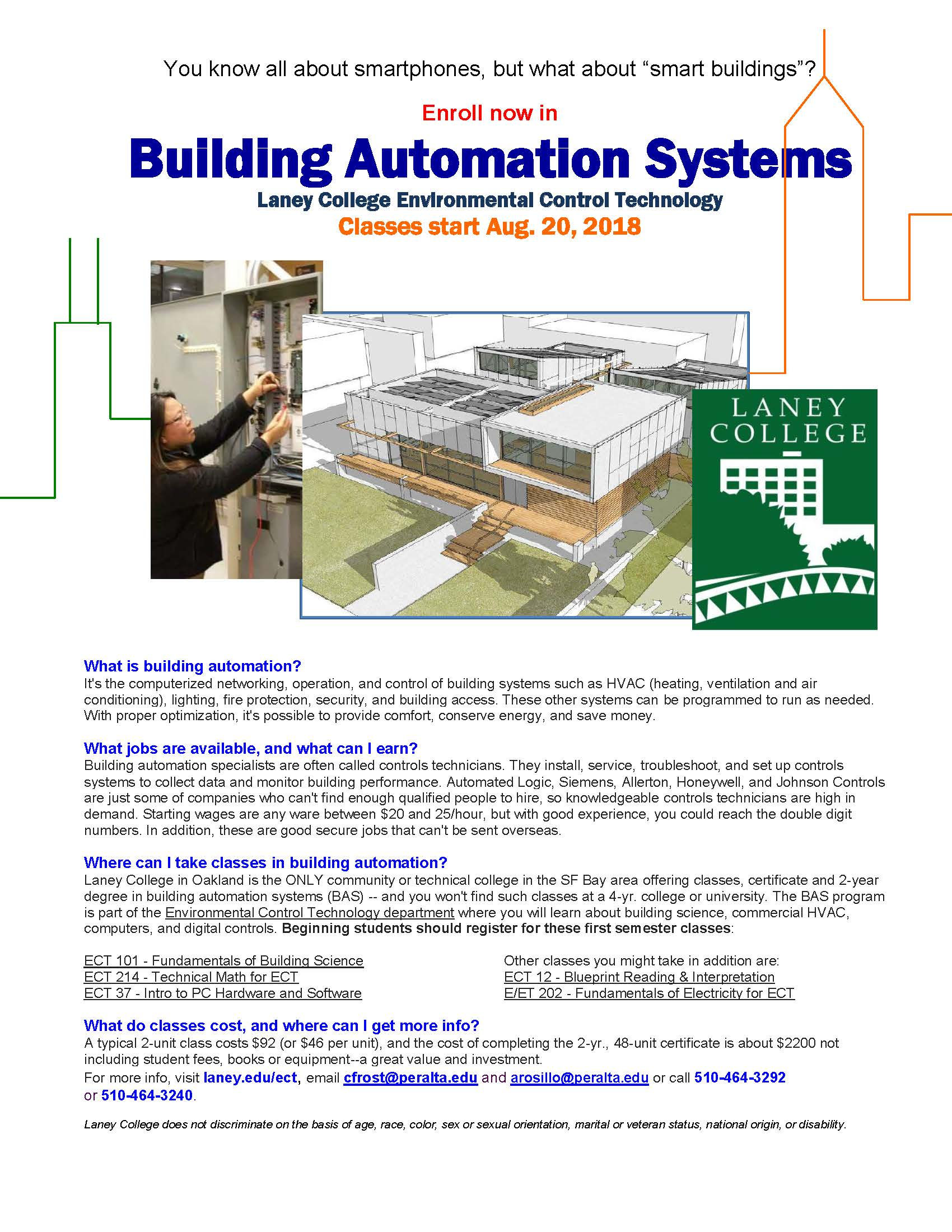Ect Courses Environmental Control Technology Hvacr Hvac Drawing Symbols And Abbreviations Building Automation Fall 2018 Flyer