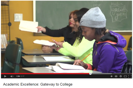 Screenshot of Academic Excellence: Gateway to College video on YouTube