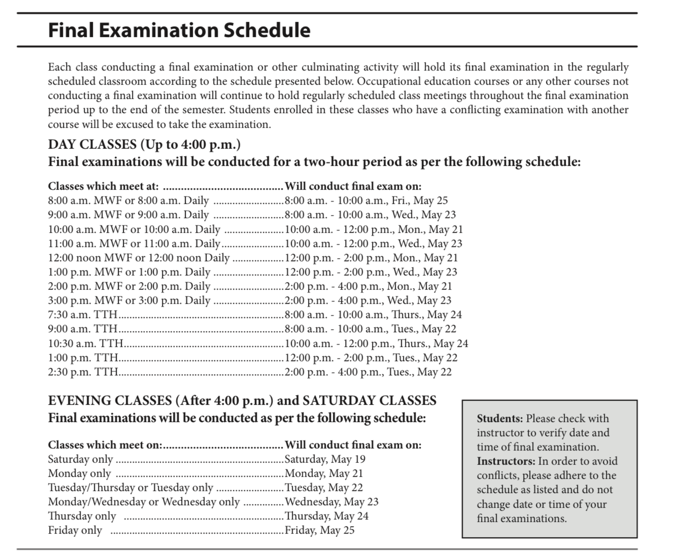 Final Exams Schedule Spring 2018 Laney College