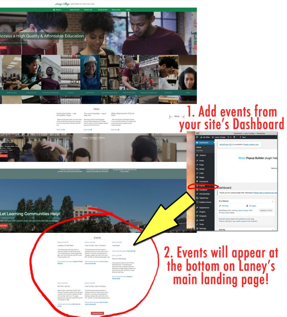 add events to laney website