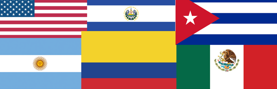 Flags of US and Latin America