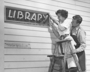 image: Laney Library Sign, 1958