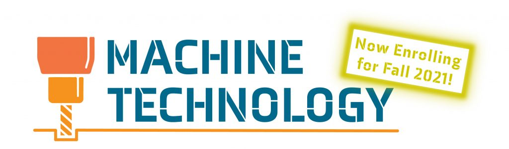 Stylized Milling Cutter with Text: Machine Technology Now Enrolling for Spring 2021!