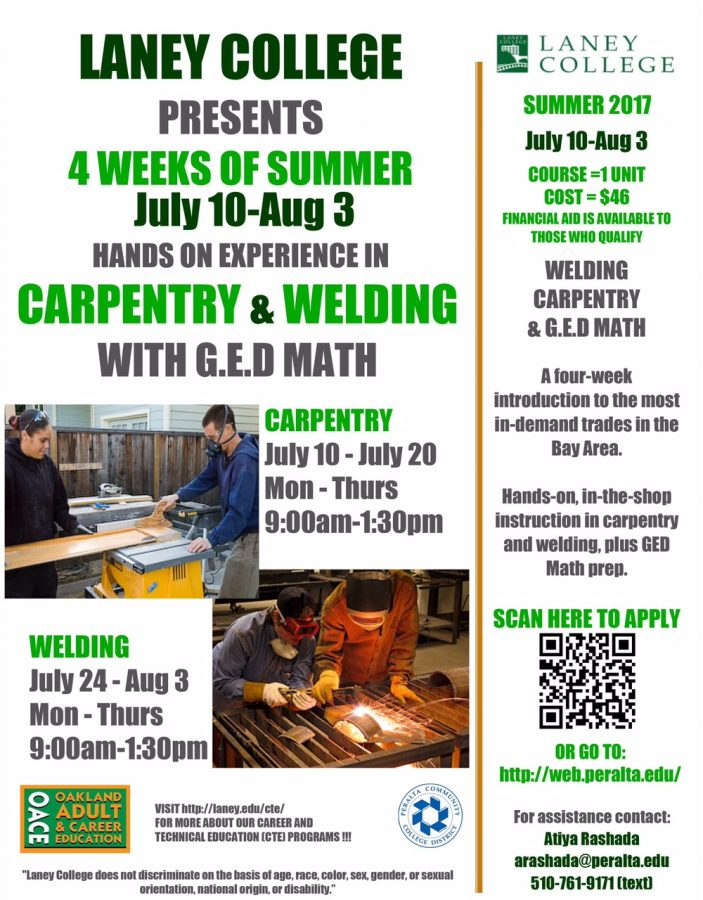 Carpentry Class Offered at Laney College in the summer 2017