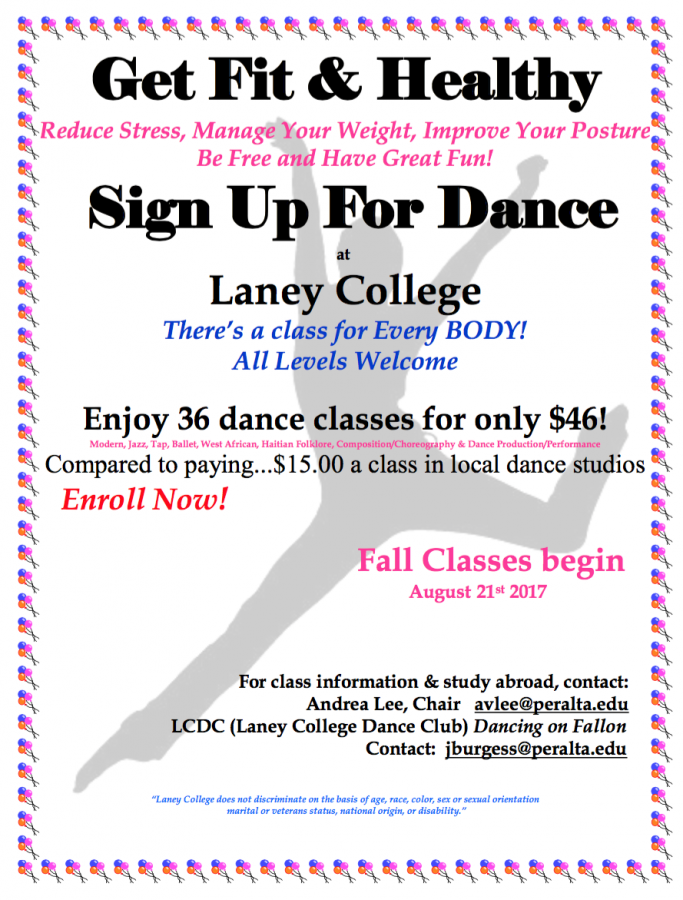 Laney College Dance Classes Fall 2017