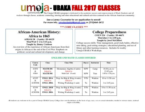 Umoja UBAKA classes at Laney College