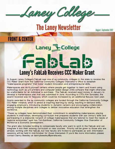 cover of the laney newsletter for aug and sept 2017