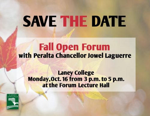 Save the Date invitation for Open Forum with Chancellor Laguerre